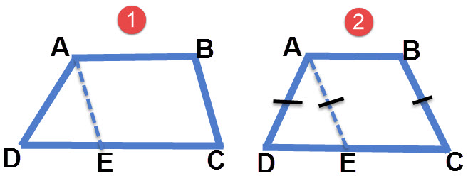 כאשר מעבירים קו מקביל לשוק בטרפז נוצרת מקבילית (ABCE). כאשר הטרפז הוא שווה שוקיים נוצר גם משולש שווה שוקיים (ADE)