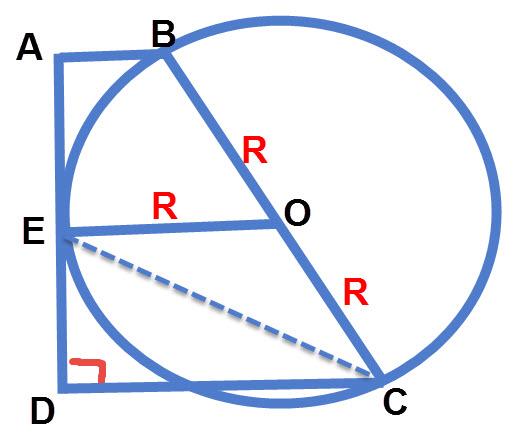 נתון כי BC הוא קוטר. אבל כאשר נסמן BO=CO=R נוכל לזהות בקלות רבה יותר כי OE הוא קטע אמצעים בטרפז וגם את משולש OEC כמשולש שווה שוקיים. ואת שתי הדברים הללו יש לעשות על מנת לפתור את השאלה.