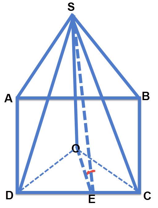 הזווית שבין בסיס הפירמידה ABCD לבין פאת הפירמידה DSC היא SEO