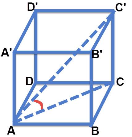 הזווית שבין אלכסון התיבה C'A לבין מישור הבסיס ABCD היא הזוויות C'AC