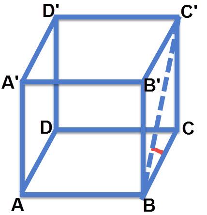 הזווית של אלכסון הפיאה C'B עם מישור הבסיס ABCD היא הזווית C'BC