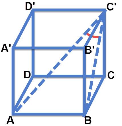 הזווית שבין הישר C'A לבין מישור הפאה BB'C'C היא הזווית AC'B