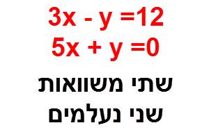 שתי משוואות עם שני נעלמים