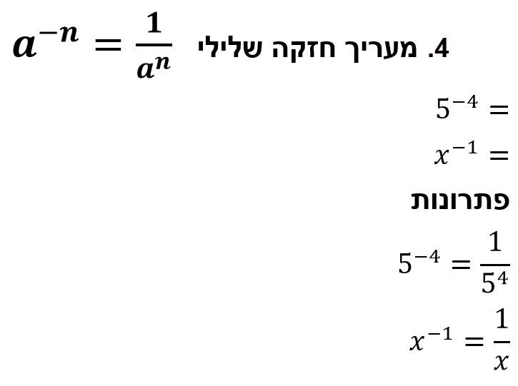 חוק החזקות a בחזקת n- שווה ל אחד לחלק ב a בחזקת n