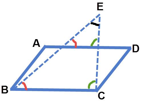 ABCD מקבילית. הזוויות הירוקות מתאימות שוות. הזוויות האדומות מתאימות שוות. הזווית השחורה משותפת לשני המשולשים.