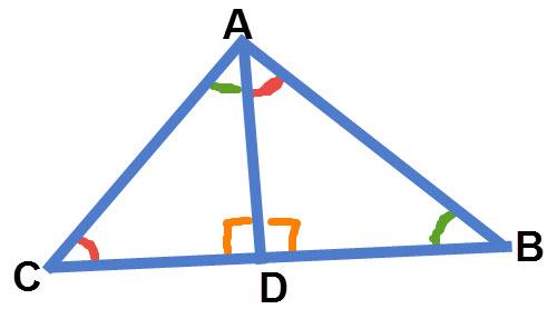 גובה במשולש ישר זווית יוצר 3 משולשים דומים. ABC∼DAC∼DBA