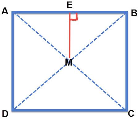 בריבוע ובמלבן האלכסונים יוצרים 4 משולשים שווה שוקיים. ME הוא גובה במשולש שווה שוקיים וגם יוצר טרפז EMCB