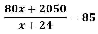 חישוב ממוצע התרגיל