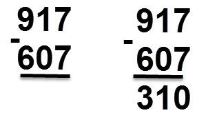 607 - 917 = 310