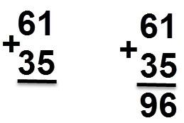 35 + 61 = 96