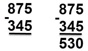 345 - 875 = 530
