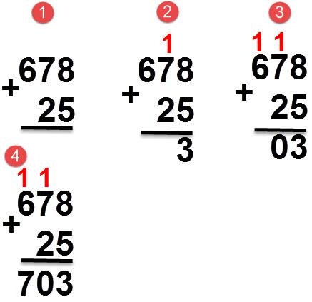 25 + 678 = 703