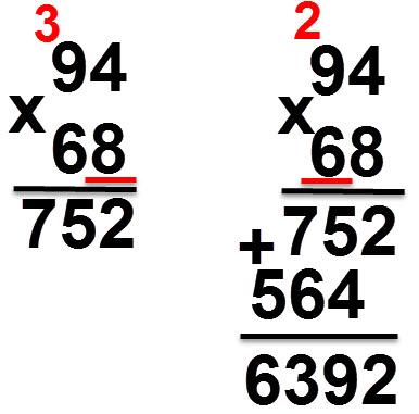 94 * 68 = 6392