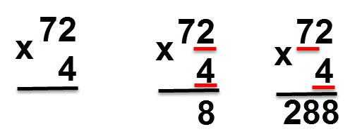 72 * 4 = 288