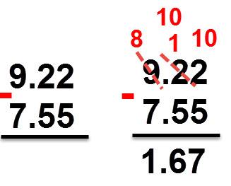 1.67 = 7.55 - 9.22