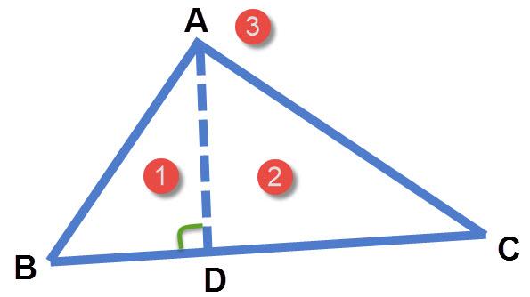 שרטוט של שלושה משולשים
