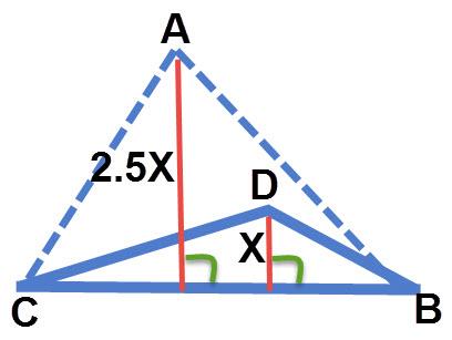 למשולשים ABC ו- DBC יש צלע משותפת (BC) והגובה היוצא מהקודקוד A גדול פי 2.5 מהגובה היוצא מקודקוד B. לכן שטח משולש ABC גדול פי 2.5 משטח משולש DBC.
