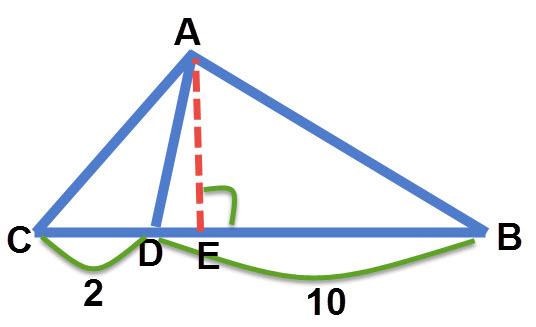 למשולשים ABD ו- ACD יש גובה משותף AE. שטח משולש ABD גדול פי 5 משטח משולש CD.