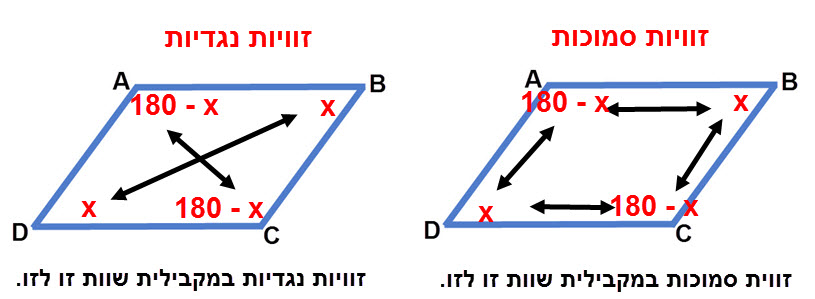 התכונה של זוויות נגדית לא דורשת הוכחה. את התכונה של זוויות סמוכות יש לנמק / להוכיח