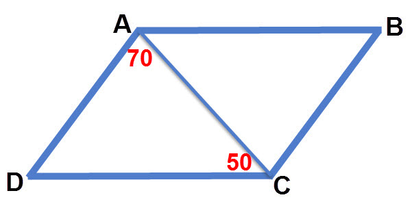 במשולש ADC ניתן להשלים את זווית D. ולאחר מיכן את כל זוויות המקבילית.