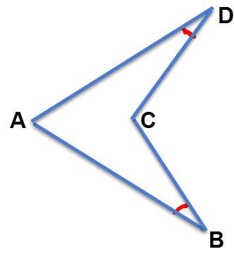 הזוויות B,D הן זוויות חדות בדלתון קעור